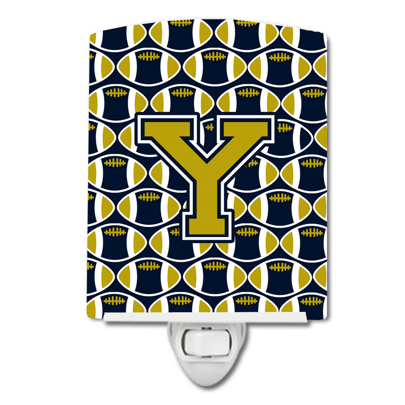 Buy this Letter Y Football Blue and Gold Ceramic Night Light CJ1074-YCNL