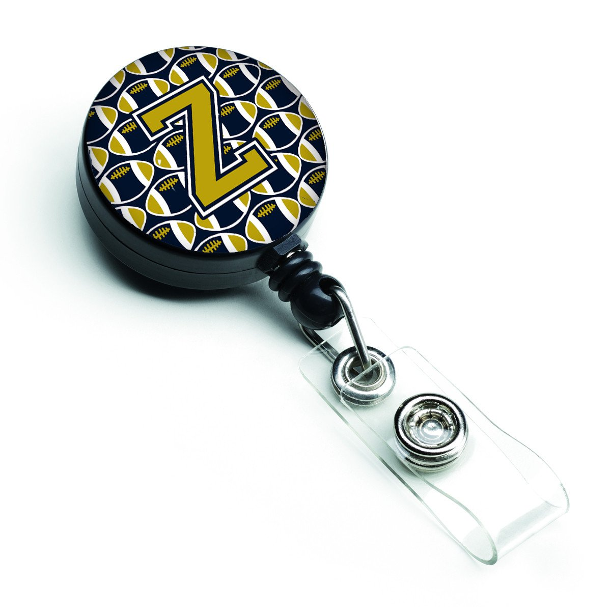 Letter Z Football Blue and Gold Retractable Badge Reel CJ1074-ZBR by Caroline's Treasures