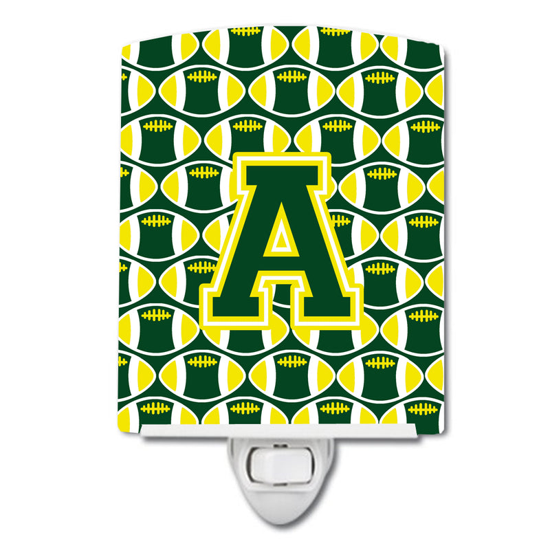 Buy this Letter A Football Green and Yellow Ceramic Night Light CJ1075-ACNL