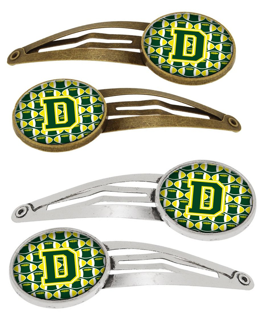 Letter D Football Green and Yellow Set of 4 Barrettes Hair Clips by Caroline's Treasures