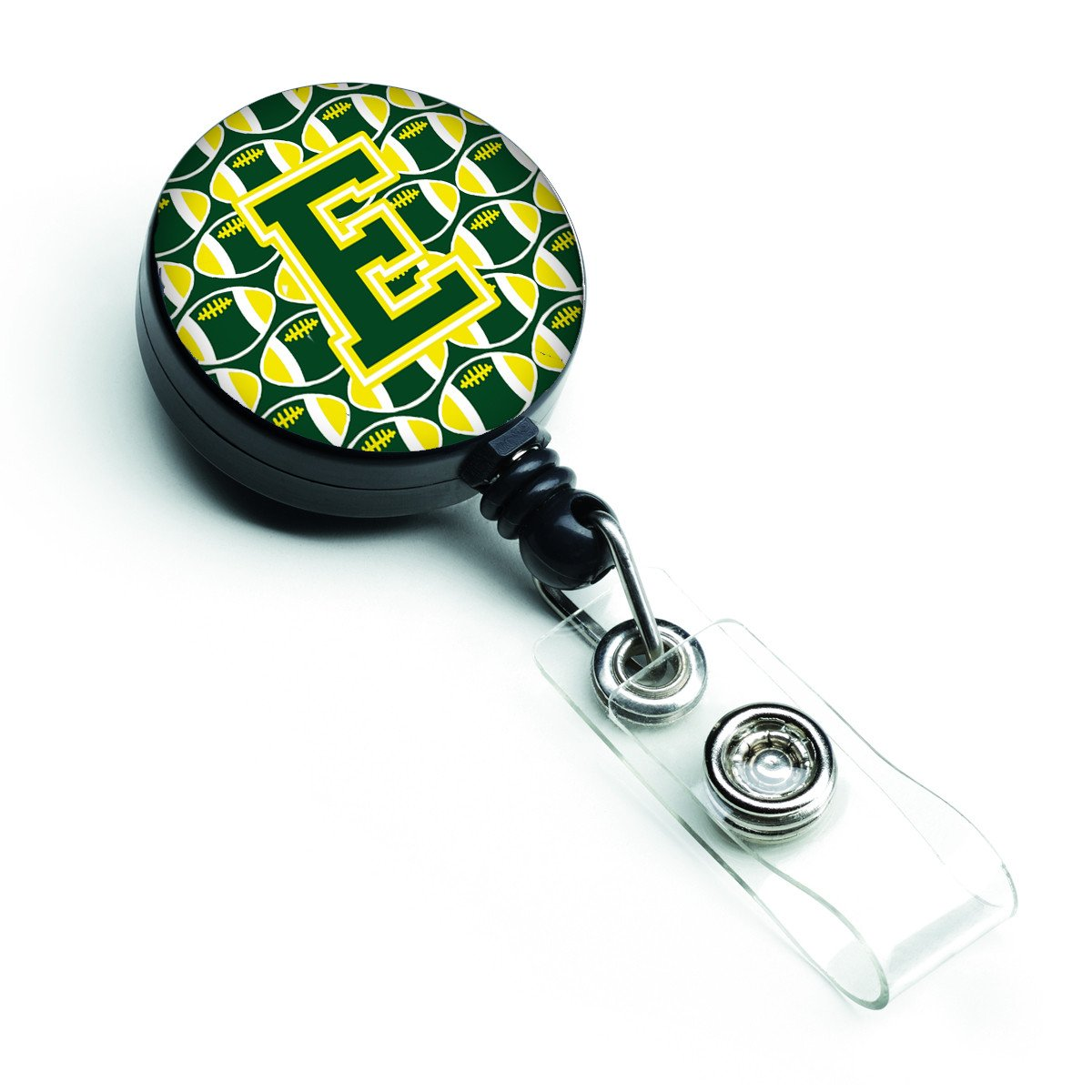 Letter E Football Green and Yellow Retractable Badge Reel CJ1075-EBR by Caroline's Treasures