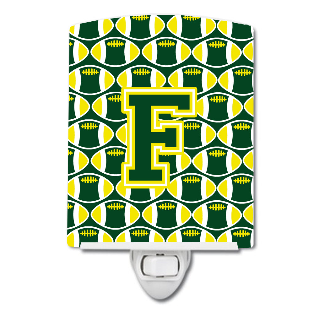 Buy this Letter F Football Green and Yellow Ceramic Night Light CJ1075-FCNL