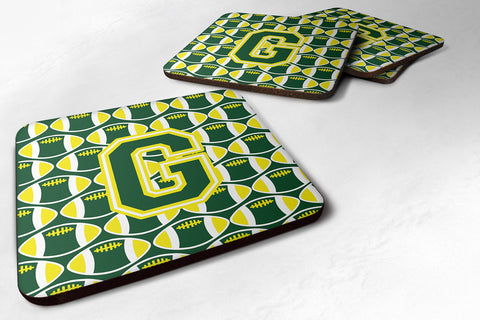 Buy this Letter G Football Green and Yellow Foam Coaster Set of 4 CJ1075-GFC