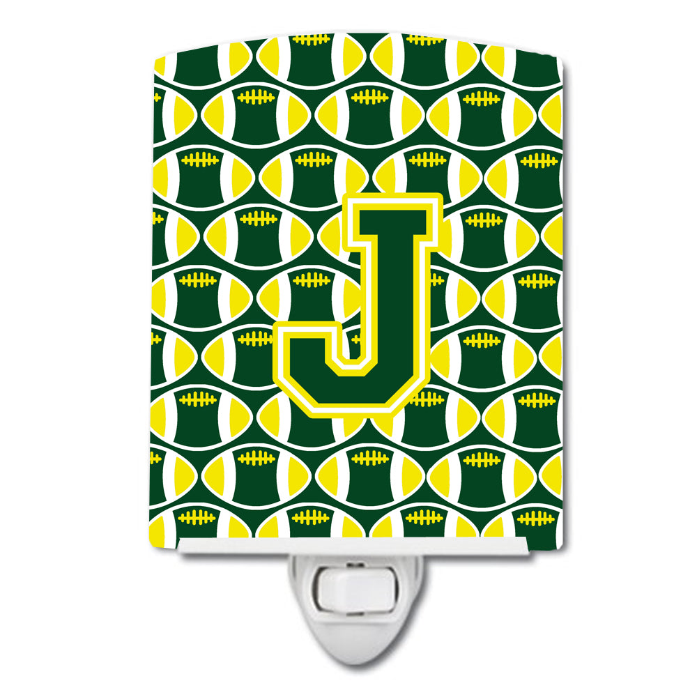 Letter J Football Green and Yellow Ceramic Night Light CJ1075-JCNL by Caroline's Treasures