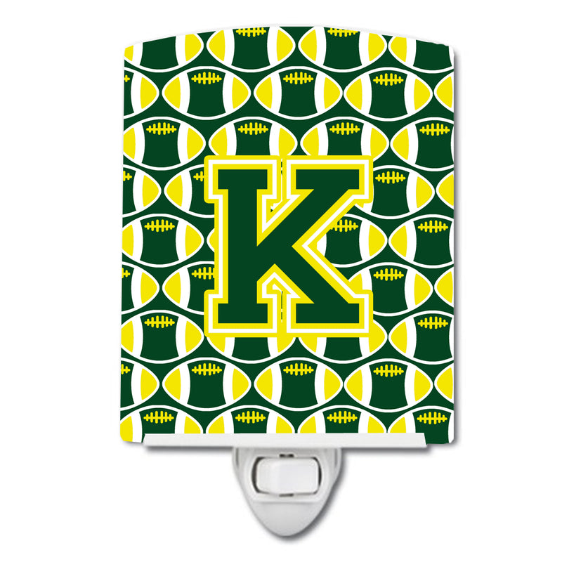 Buy this Letter K Football Green and Yellow Ceramic Night Light CJ1075-KCNL
