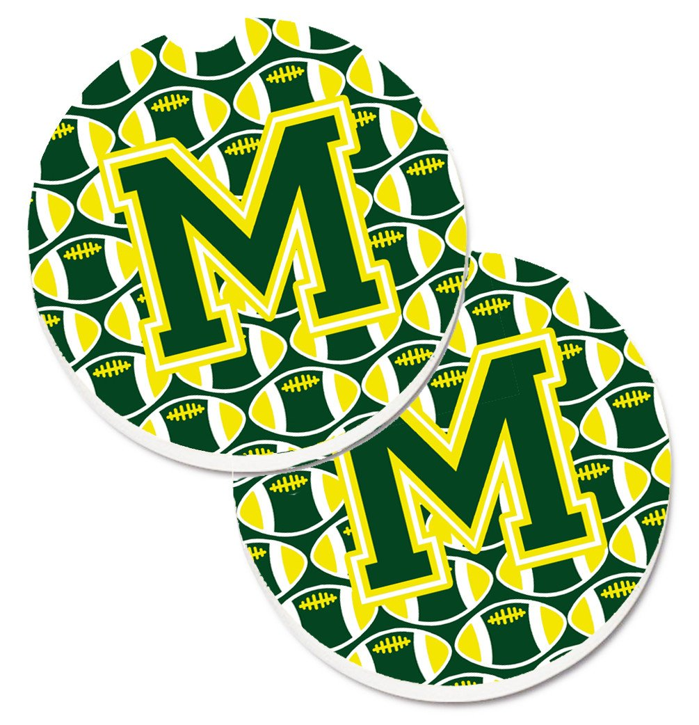 Letter M Football Green and Yellow Set of 2 Cup Holder Car Coasters CJ1075-MCARC by Caroline's Treasures