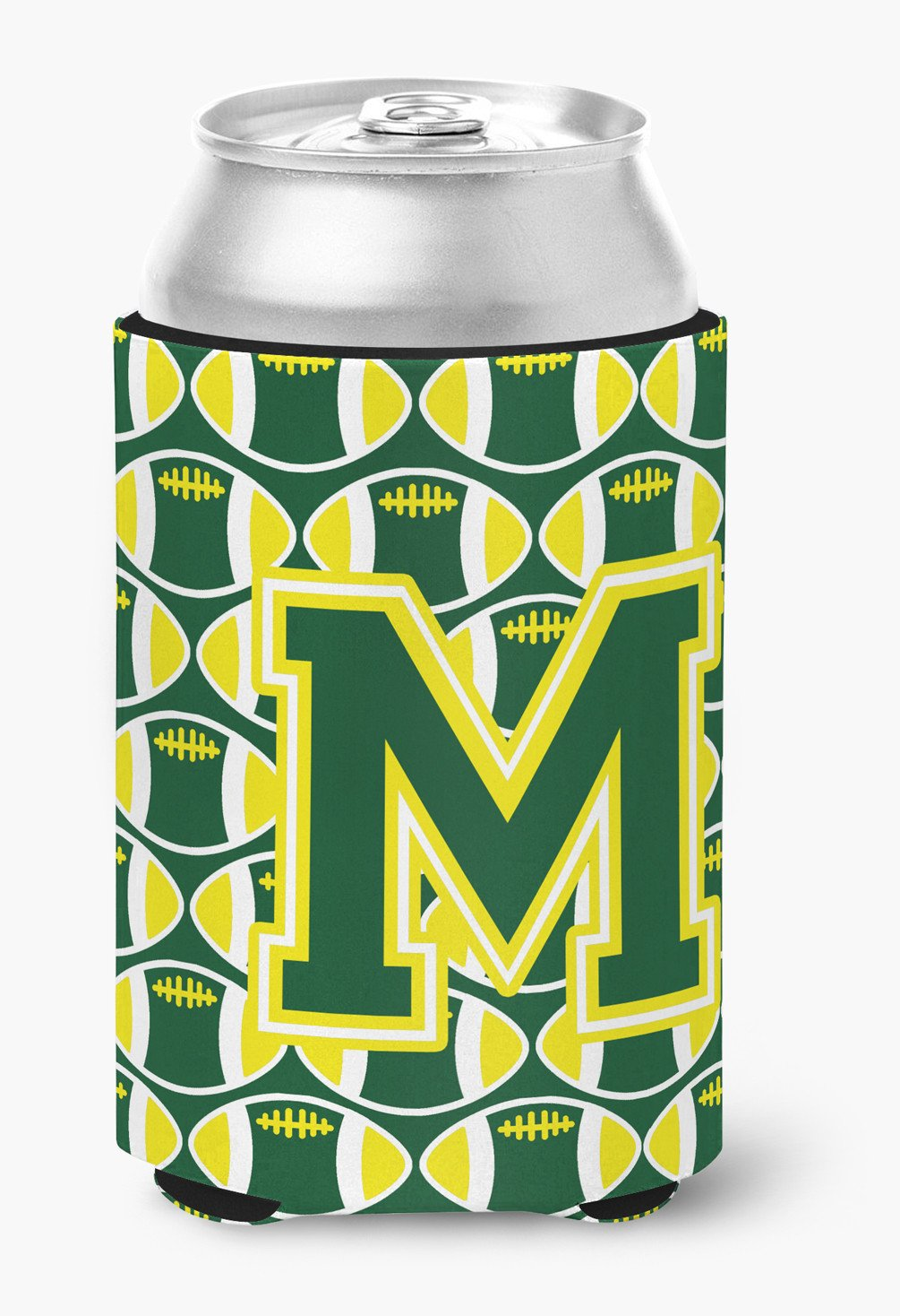 Letter M Football Green and Yellow Can or Bottle Hugger CJ1075-MCC by Caroline's Treasures