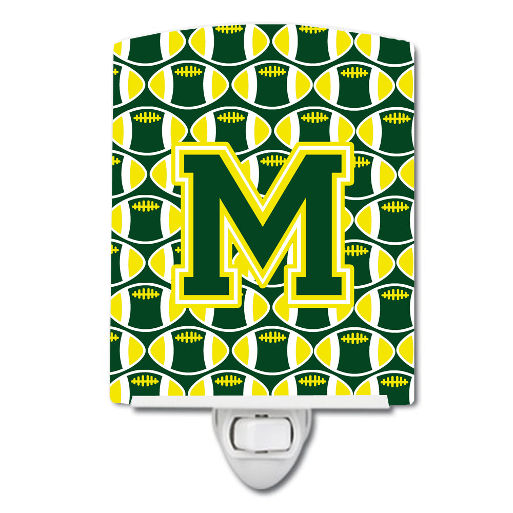 Letter M Football Green and Yellow Ceramic Night Light CJ1075-MCNL by Caroline's Treasures