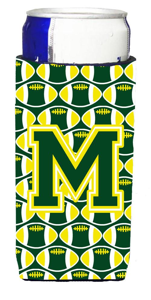 Letter M Football Green and Yellow Ultra Beverage Insulators for slim cans CJ1075-MMUK by Caroline's Treasures