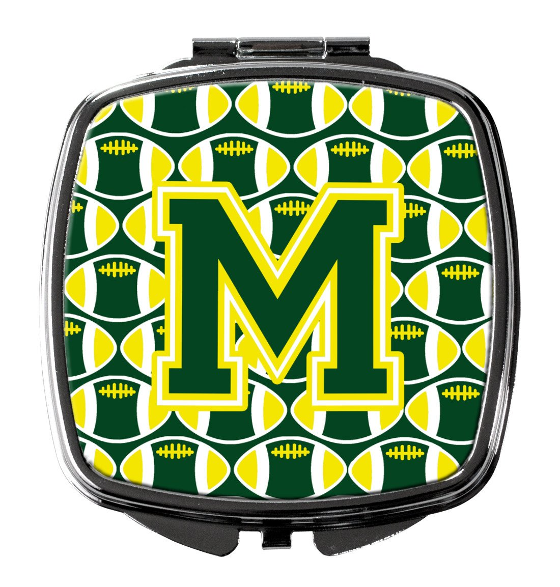Letter M Football Green and Yellow Compact Mirror CJ1075-MSCM by Caroline's Treasures
