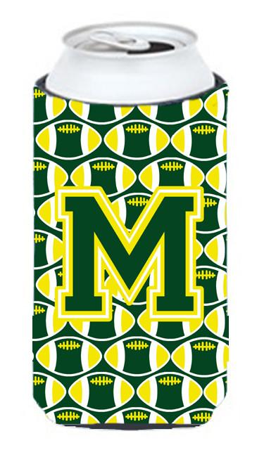 Letter M Football Green and Yellow Tall Boy Beverage Insulator Hugger CJ1075-MTBC by Caroline's Treasures