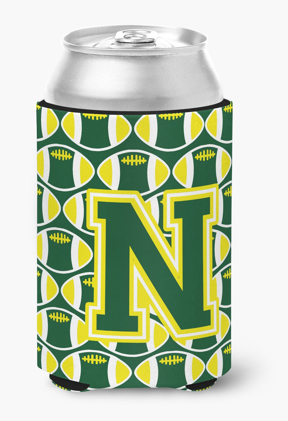 Letter N Football Green and Yellow Can or Bottle Hugger CJ1075-NCC by Caroline's Treasures