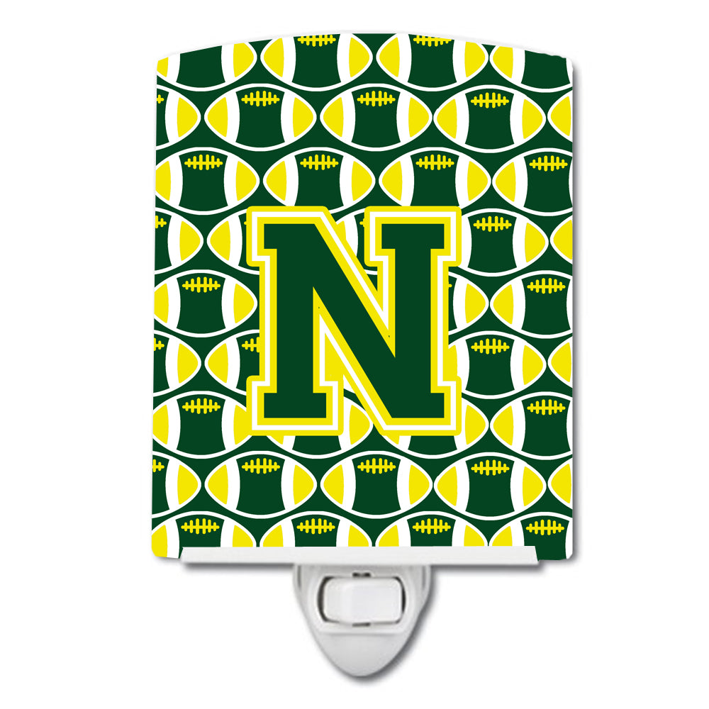 Buy this Letter N Football Green and Yellow Ceramic Night Light CJ1075-NCNL