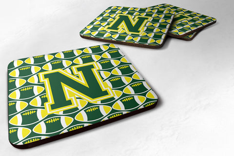 Buy this Letter N Football Green and Yellow Foam Coaster Set of 4 CJ1075-NFC