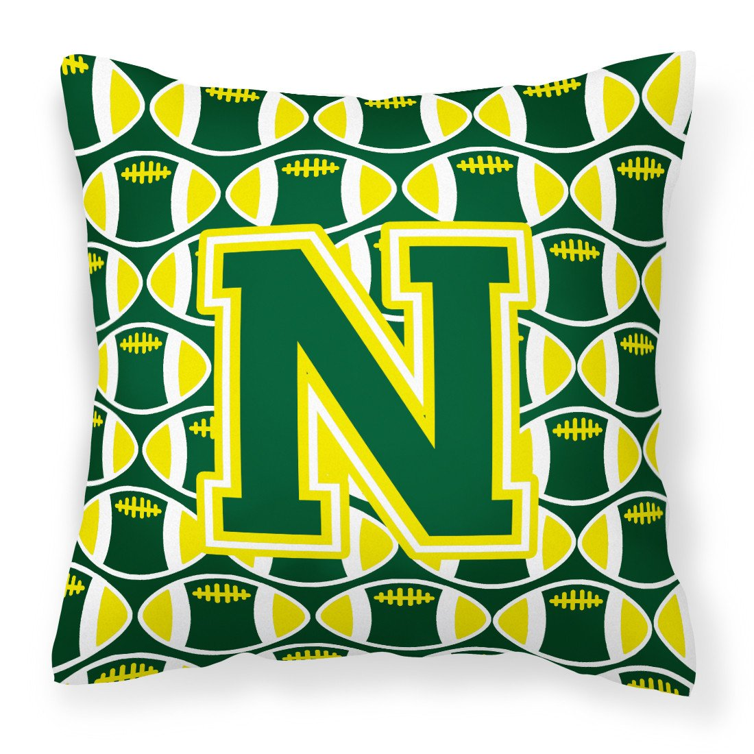 Letter N Football Green and Yellow Fabric Decorative Pillow CJ1075-NPW1414 by Caroline's Treasures
