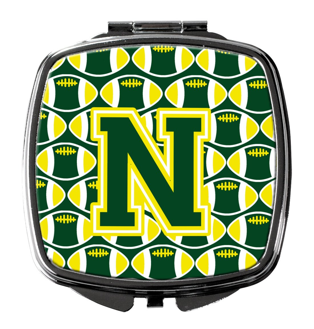Letter N Football Green and Yellow Compact Mirror CJ1075-NSCM by Caroline's Treasures
