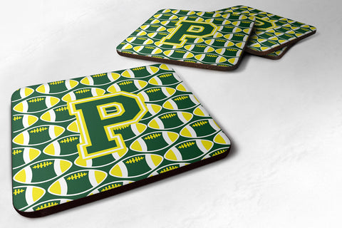 Buy this Letter P Football Green and Yellow Foam Coaster Set of 4 CJ1075-PFC