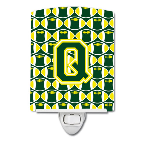 Buy this Letter Q Football Green and Yellow Ceramic Night Light CJ1075-QCNL