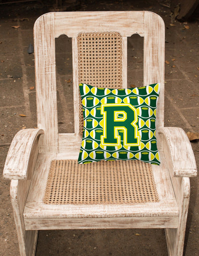 Letter R Football Green and Yellow Fabric Decorative Pillow CJ1075-RPW1414