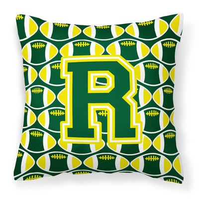 Buy this Letter R Football Green and Yellow Fabric Decorative Pillow CJ1075-RPW1414