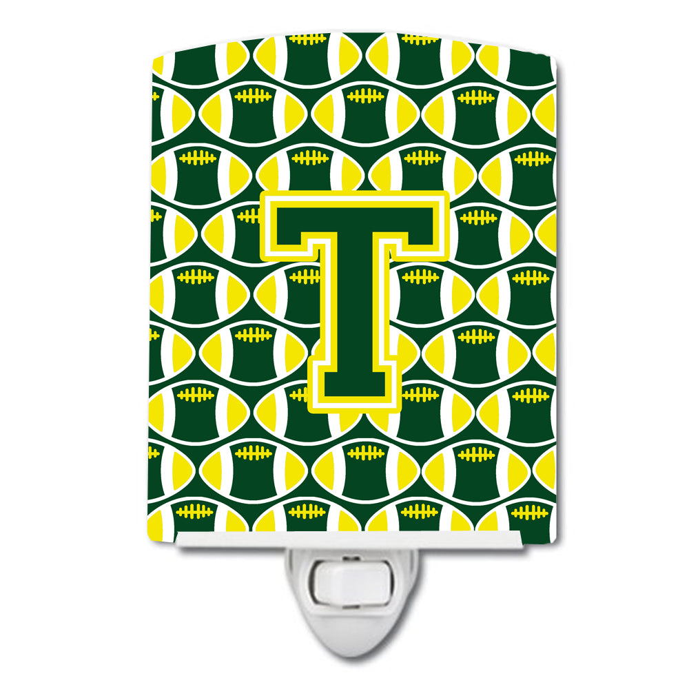 Buy this Letter T Football Green and Yellow Ceramic Night Light CJ1075-TCNL