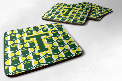 Buy this Letter T Football Green and Yellow Foam Coaster Set of 4 CJ1075-TFC