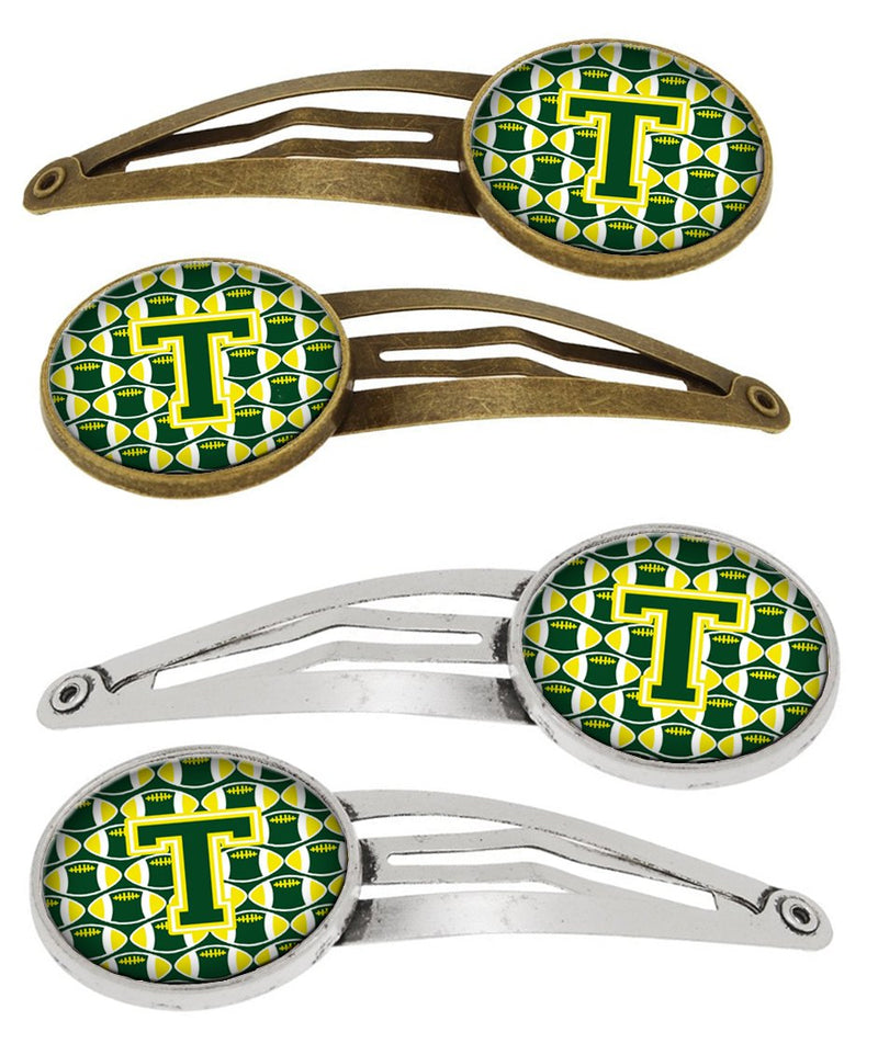 Buy this Letter T Football Green and Yellow Set of 4 Barrettes Hair Clips CJ1075-THCS4