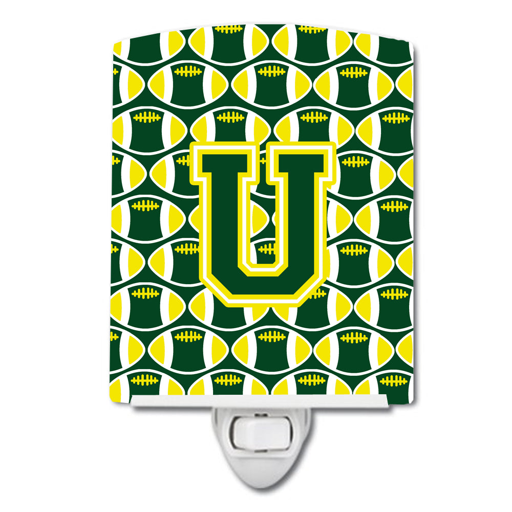 Letter U Football Green and Yellow Ceramic Night Light CJ1075-UCNL by Caroline's Treasures