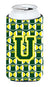 Buy this Letter U Football Green and Yellow Tall Boy Beverage Insulator Hugger CJ1075-UTBC