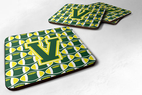 Buy this Letter V Football Green and Yellow Foam Coaster Set of 4 CJ1075-VFC