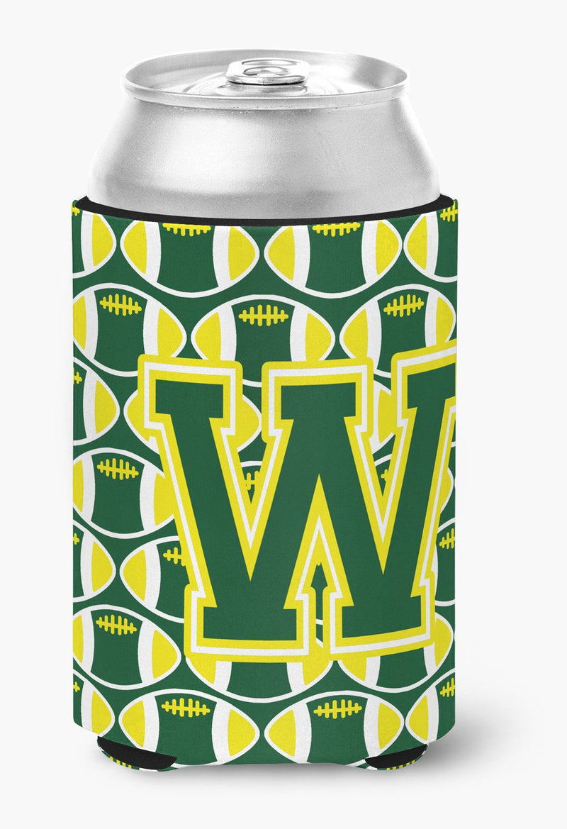 Buy this Letter W Football Green and Yellow Can or Bottle Hugger CJ1075-WCC