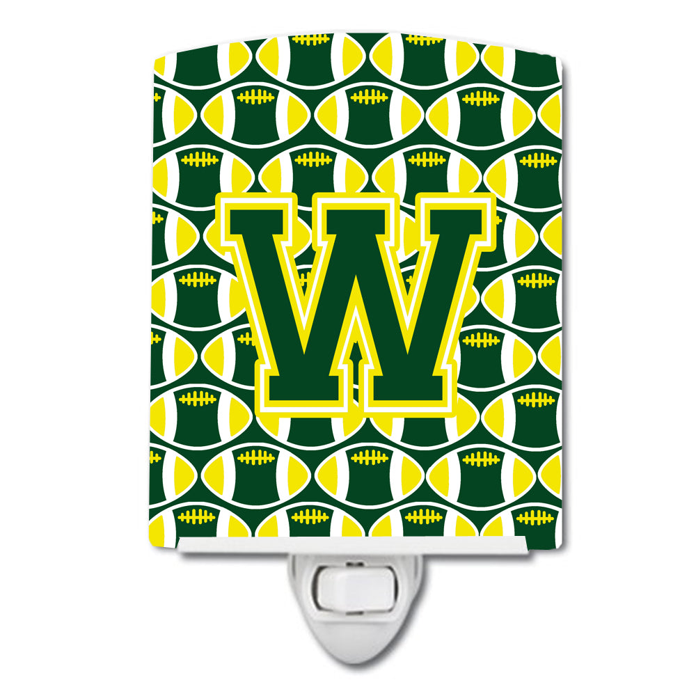 Letter W Football Green and Yellow Ceramic Night Light CJ1075-WCNL by Caroline's Treasures