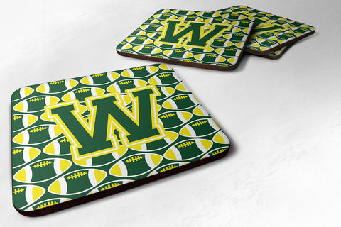Buy this Letter W Football Green and Yellow Foam Coaster Set of 4 CJ1075-WFC