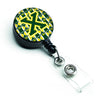 Letter X Football Green and Yellow Retractable Badge Reel CJ1075-XBR by Caroline's Treasures