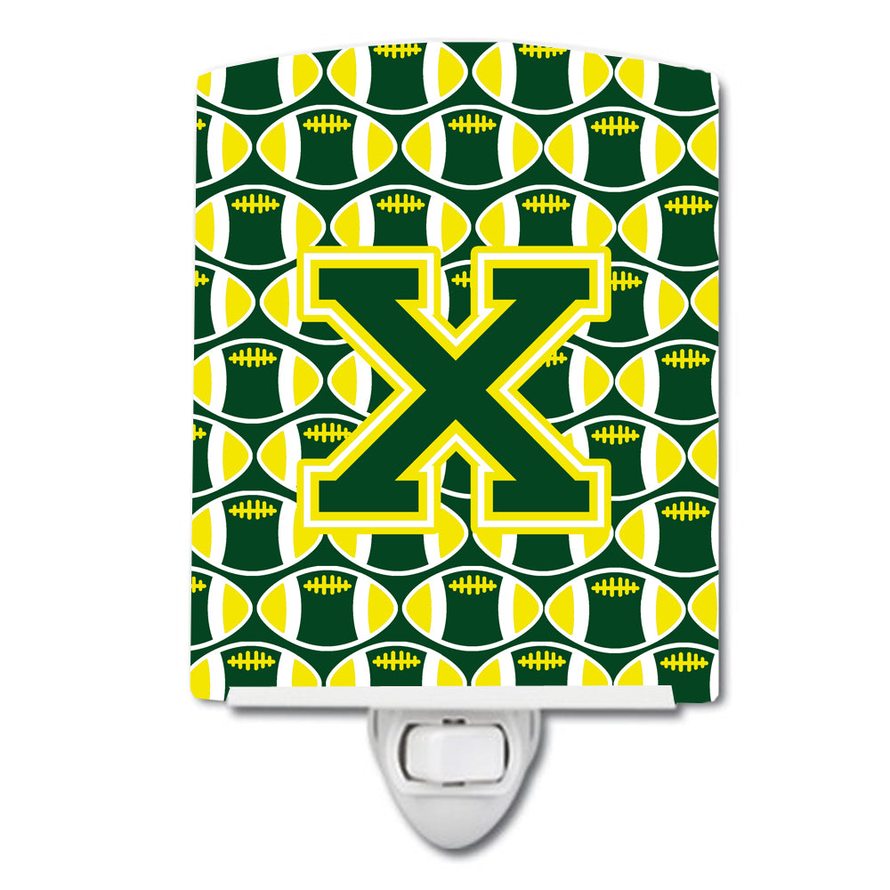 Buy this Letter X Football Green and Yellow Ceramic Night Light CJ1075-XCNL