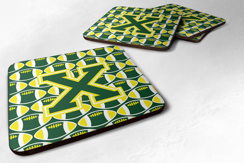 Buy this Letter X Football Green and Yellow Foam Coaster Set of 4 CJ1075-XFC