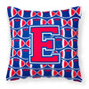 Letter E Football Harvard Crimson and Yale Blue Fabric Decorative Pillow CJ1076-EPW1414 by Caroline's Treasures