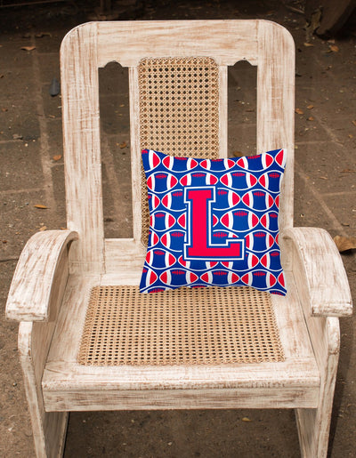 Letter L Football Harvard Crimson and Yale Blue Fabric Decorative Pillow CJ1076-LPW1414