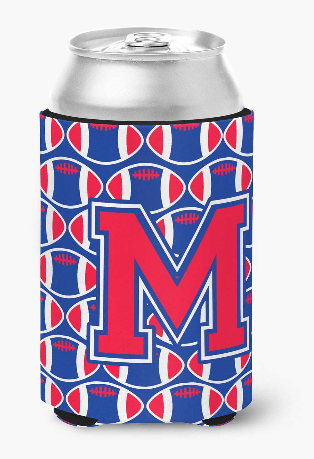 Letter M Football Harvard Crimson and Yale Blue Can or Bottle Hugger CJ1076-MCC by Caroline's Treasures