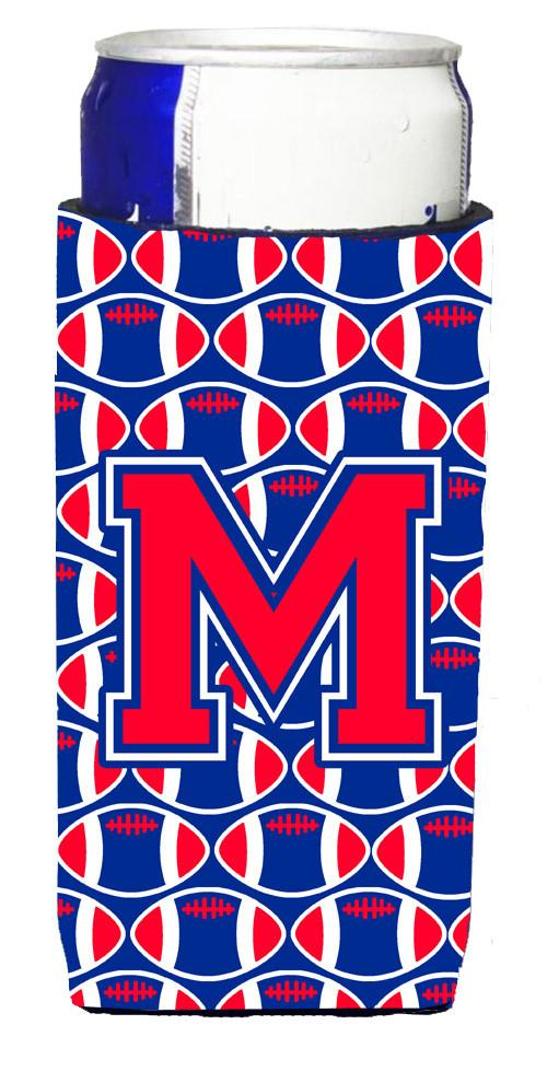 Letter M Football Crimson and Yale Blue Ultra Beverage Insulators for slim cans CJ1076-MMUK by Caroline's Treasures