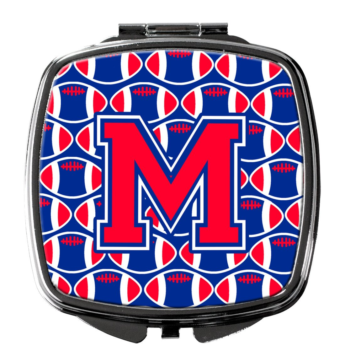 Letter M Football Harvard Crimson and Yale Blue Compact Mirror CJ1076-MSCM by Caroline's Treasures