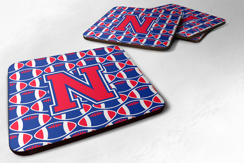 Buy this Letter N Football Harvard Crimson and Yale Blue Foam Coaster Set of 4 CJ1076-NFC