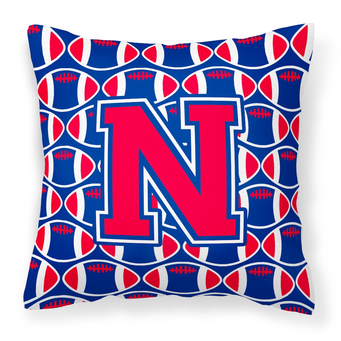 Letter N Football Harvard Crimson and Yale Blue Fabric Decorative Pillow CJ1076-NPW1414 by Caroline's Treasures