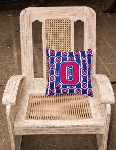 Letter O Football Harvard Crimson and Yale Blue Fabric Decorative Pillow CJ1076-OPW1414