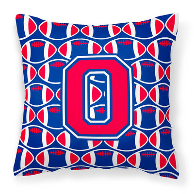 Buy this Letter O Football Harvard Crimson and Yale Blue Fabric Decorative Pillow CJ1076-OPW1414