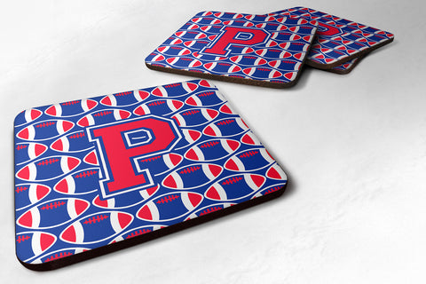 Buy this Letter P Football Harvard Crimson and Yale Blue Foam Coaster Set of 4 CJ1076-PFC