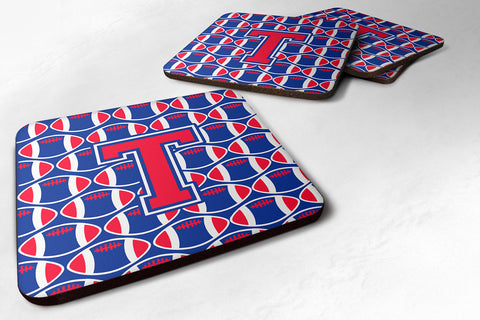 Buy this Letter T Football Harvard Crimson and Yale Blue Foam Coaster Set of 4 CJ1076-TFC