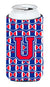 Buy this Letter U Football Crimson and Yale Blue Tall Boy Beverage Insulator Hugger CJ1076-UTBC