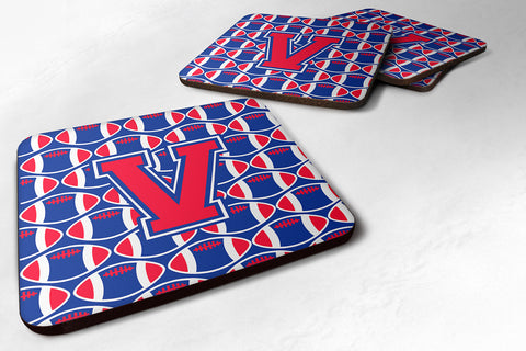 Buy this Letter V Football Harvard Crimson and Yale Blue Foam Coaster Set of 4 CJ1076-VFC