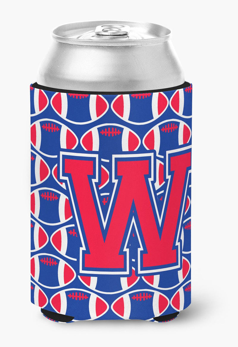 Buy this Letter W Football Harvard Crimson and Yale Blue Can or Bottle Hugger CJ1076-WCC